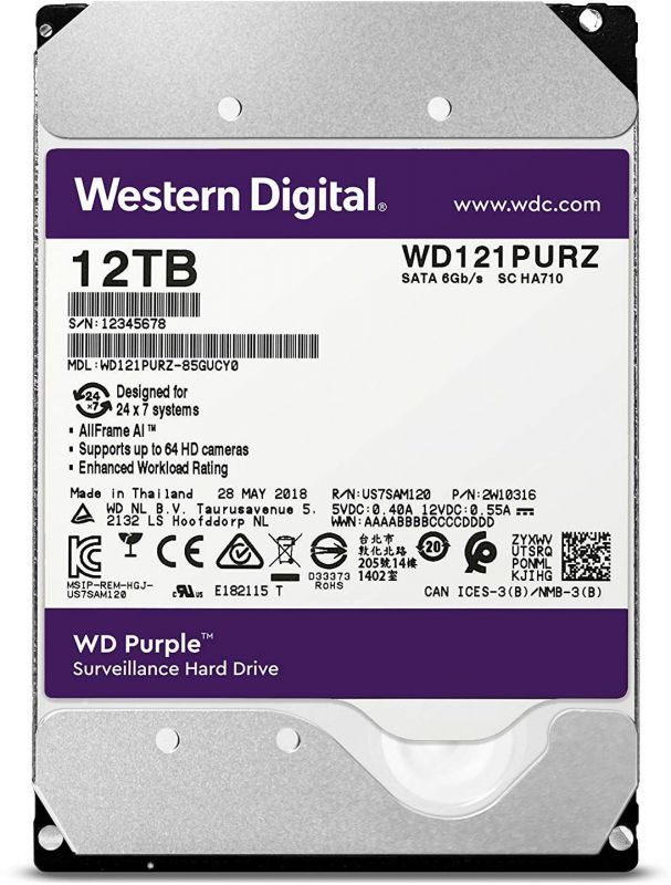 Жесткий диск WD Original SATA-III 12Tb WD121PURZ Purple (7200rpm) 256Mb 3.5""
